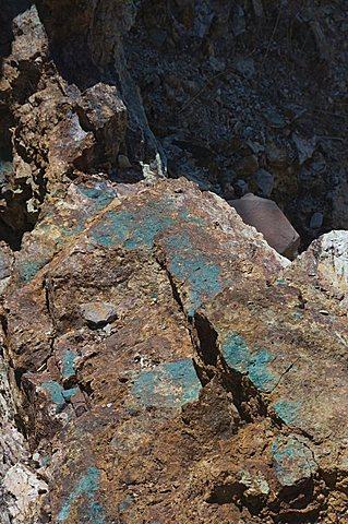 Copper seam in old mine at Pozos, near San Miguel, Mexico, North America