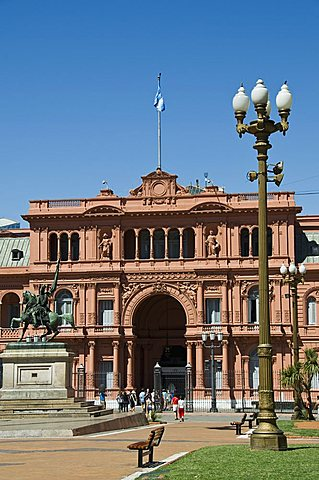 Casa Rosada (Presidential Palace) where Juan Peron appeared on this central balcony, Plaza de Mayo, Buenos Aires, Argentina, South America