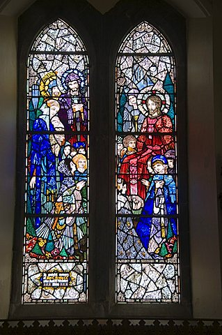 Famous stained glass windows by Harry Clarke, Diseart Institute of Education and Celtic Culture, Dingle, County Kerry, Munster, Republic of Ireland, Europe