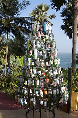 Christmas tree made out of bottles, Ngala Lodge, situated between the resorts of Bakau and Fajara, near Banjul, Gambia, West Africa, Africa