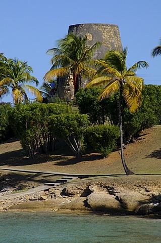 Old sugar windmill, Hawksbill Beach, Hawksbill Hotel, Antigua, Leeward Islands, West Indies, Caribbean, Central America