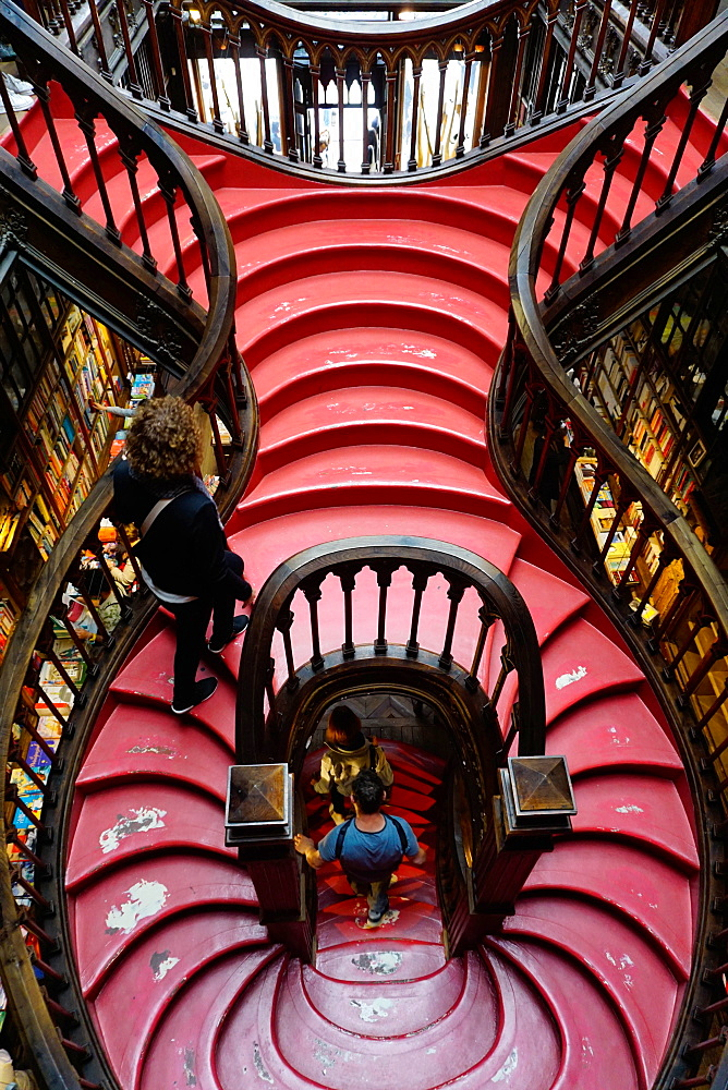 Stairs, Livraria Lello bookshop built in 1881, Porto (Oporto), Portugal, Europe