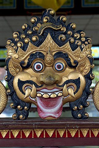 Close-up of the face of a demon at the Kraton or Sultans Palace in Jogjakarta, Java, Indonesia, Southeast Asia, Asia