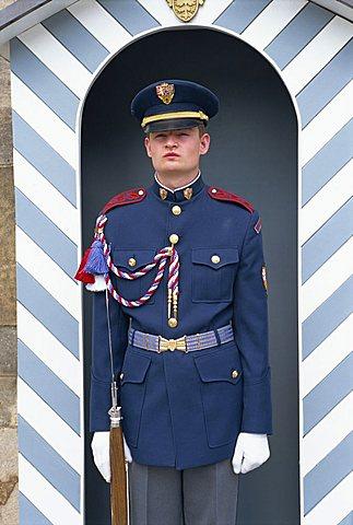 Guard at Prague Castle, Prague, Czech Republic, Europe