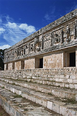 Nunnery Quadrangle at the Mayan site of Uxmal, UNESCO World Heritage Site, Uxmal, Yucatan, Mexico, North America