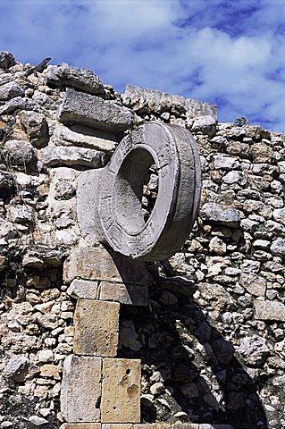 Detail, ball court, Mayan site, Uxmal, UNESCO World Heritage Site, Yucatan, Mexico, North America