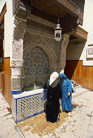 Fountain in the old city or medina, Fez, Morocco, North Africa, Africa