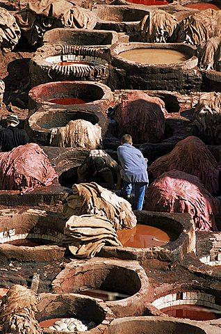 Tanneries, Fez, Morocco, North Africa, Africa