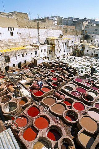 Elevated view over vats of dye, the tanneries, Fez, Morocco, North Africa, Africa
