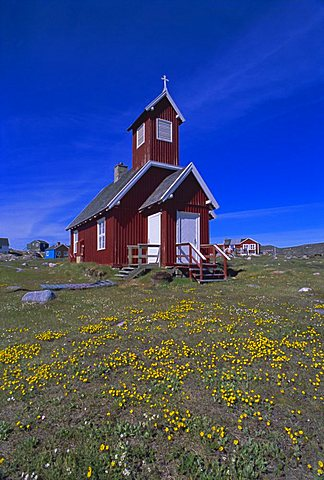 Church in Ilimanaq, formerly Claushavn, Greenland, Polar Regions