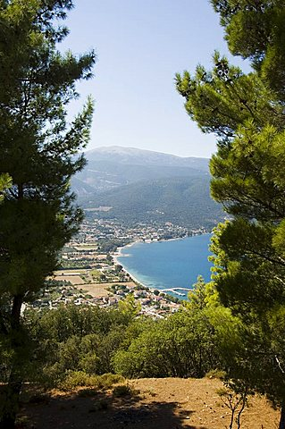 View from top of hill near Sami, Kefalonia (Cephalonia), Ionian Islands, Greece, Europe