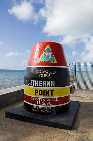 Old buoy used as marker for the furthest point south in the United States, Key West, Florida, United States of America, North America