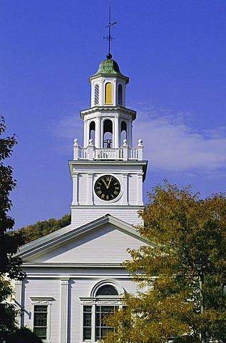 First Congregational church, Paul Revere Bell, one of only 37 surviving bells made at Revere's foundry during his lifetime, Woodstock, Vermont, New England, USA, North America