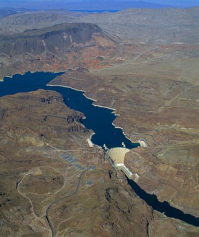 The Hoover Dam and Lake Mead from the air, Nevada, USA.