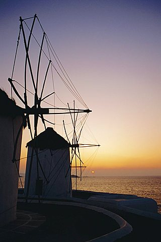 The lower Windmills (Kato Myli) at sunset, Mykonos, Cyclades Islands, Greece, Europe