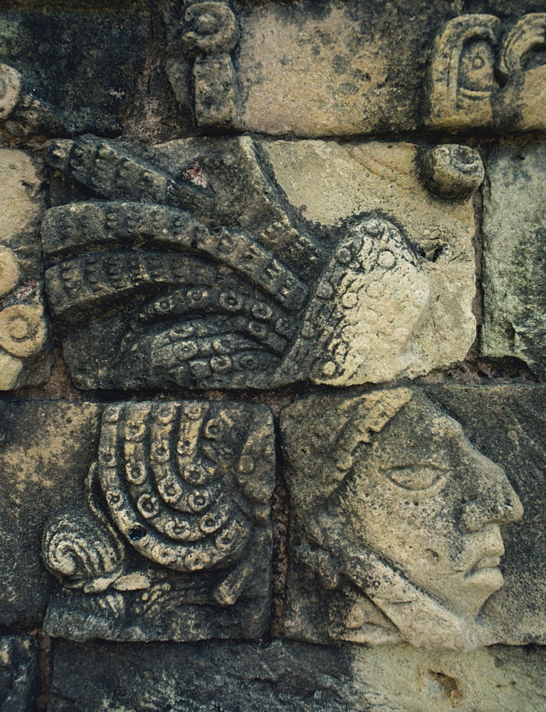 Detail of Maya stone carving at Tikal, UNESCO World Heritage Site, Guatemala, Central America - 657-330