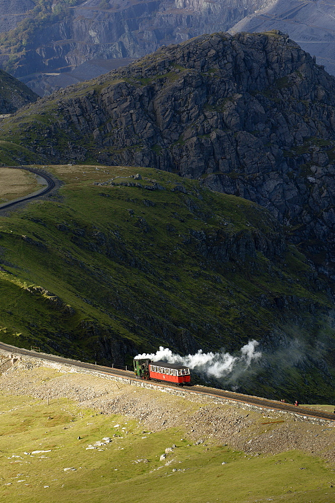 Steam train on route between Llanberis and the summit of Mount Snowdon in Snowdonia National Park, Gwynedd, Wales, United Kingdom, Europe - 663-823