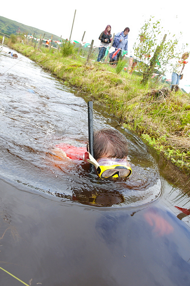 World Bogsnorkelling Championships, conceived in 1985 by Gordon Green, take place at Waen Rhydd Bog in the Cambrian Mountains, Powys, Wales, United Kingdom, Europe