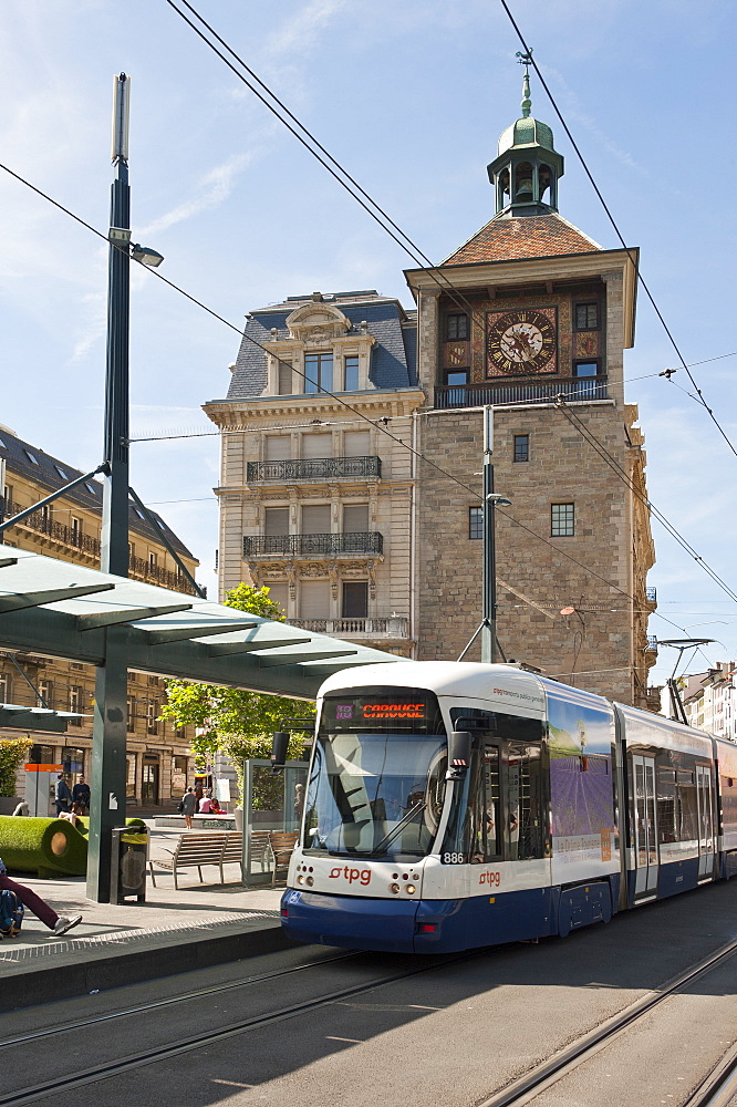 Tram stop, Rue de la Tour-de-l'Ile, Geneva, Switzerland, Europe