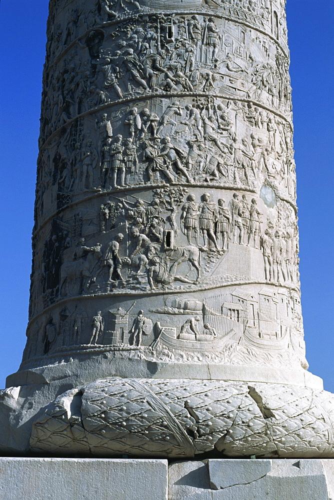 Detail of Trajan's Column, Rome, Lazio, Italy, Europe