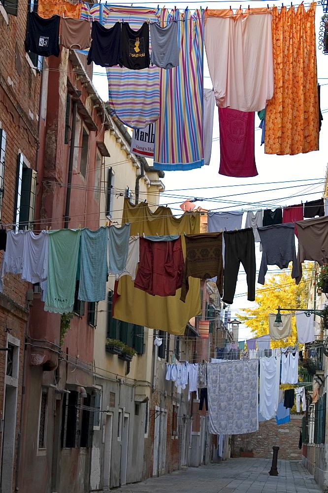 Drying clothes, Arsenal area, Venice, Veneto, Italy, Europe