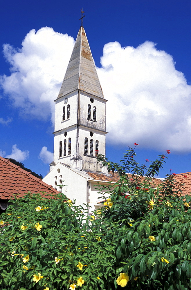 Church in the village of Les Anses d'Arlets, Martinique, West Indies, Caribbean, Central America