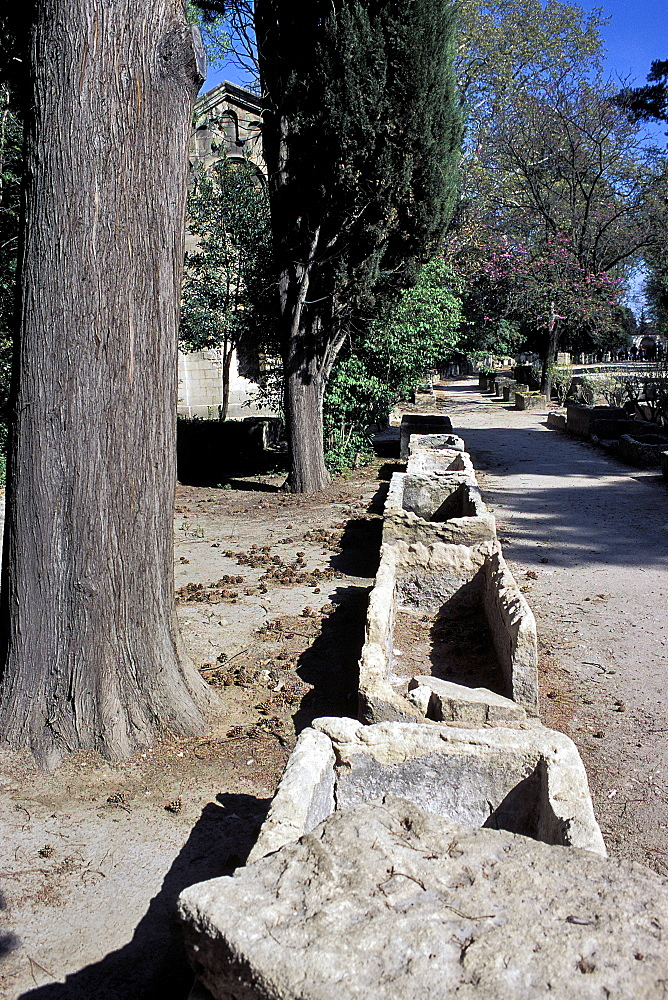 Lane of sarcophagi, Les Alyscamps, Arles, Bouches-du-Rhone, Provence, France, Europe