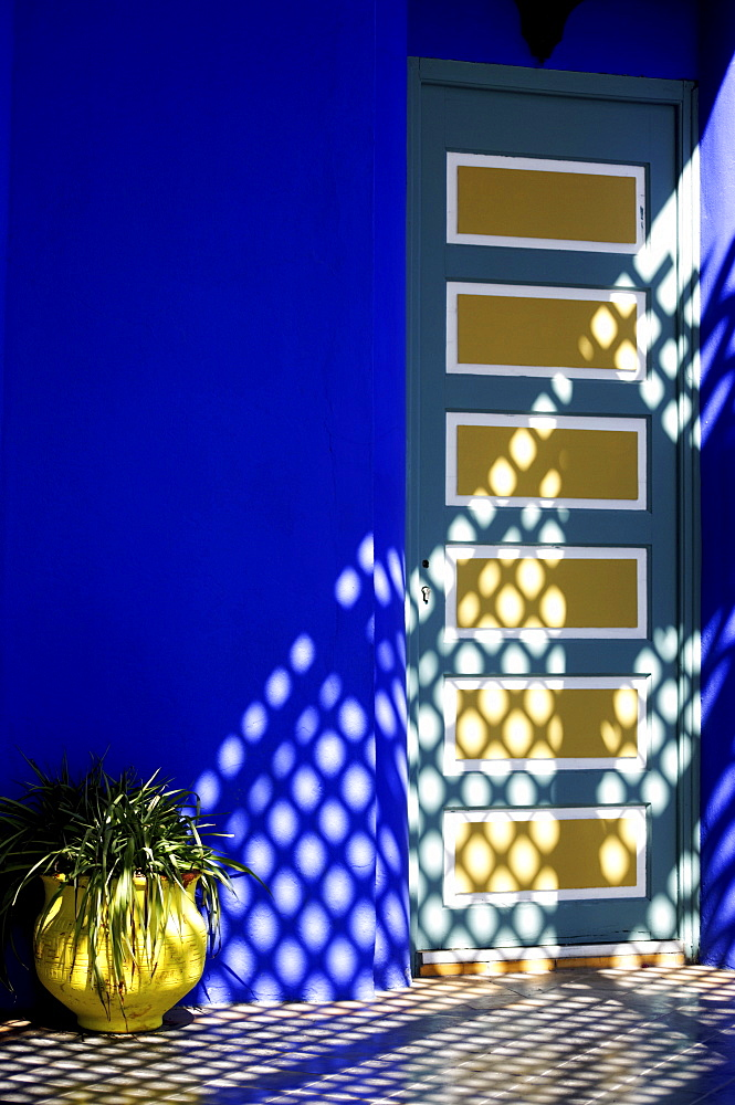 Wall detail, Majorelle Gardens, Marrakesh, Morocco, North Africa, Africa
