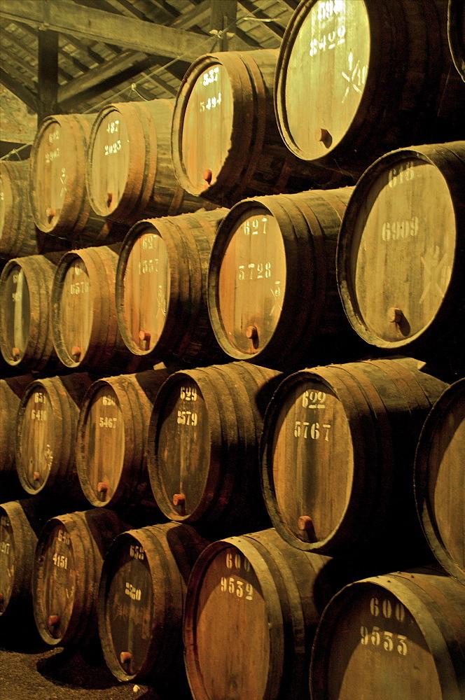 Port wine maturing in barrels in wine cellars, Vila Nova de Gaia, Porto, Portugal, Europe
