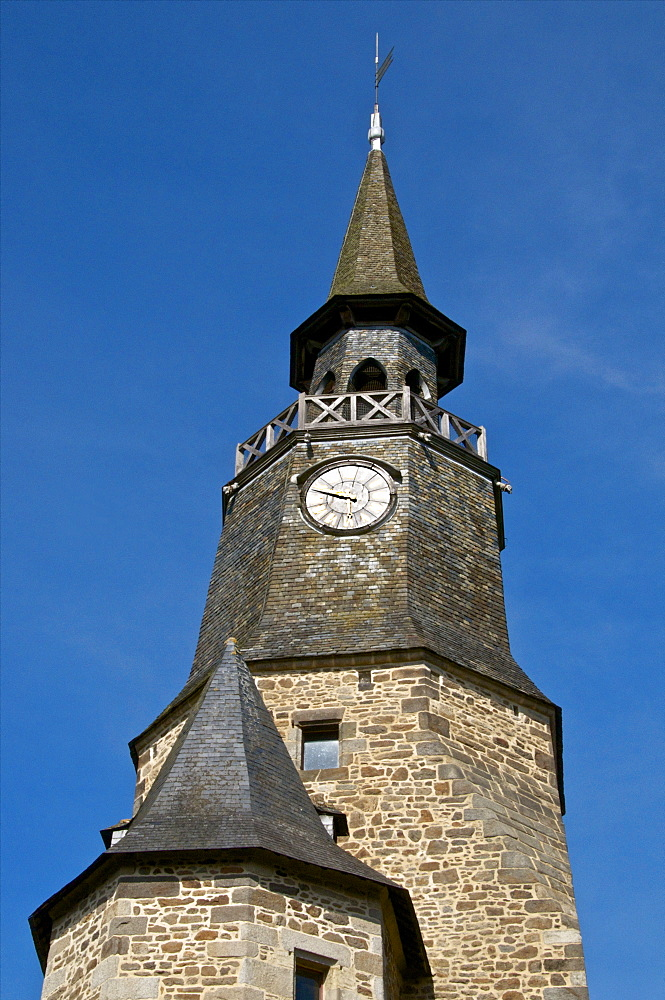 Clock Tower, clock bought in 1498 by the town, Dinan, Brittany, France, Europe