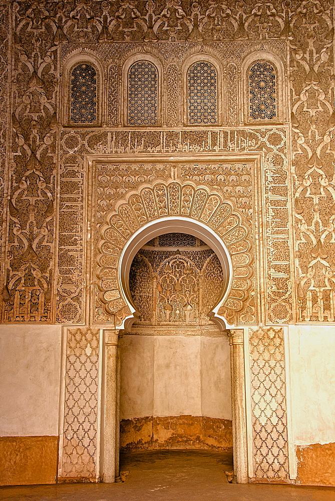 Mihrab in little mosque, Koranic School of Medersa Ben Youssef, dating from 1570, UNESCO World Heritage Site, Marrakech, Morroco, North Africa, Africa