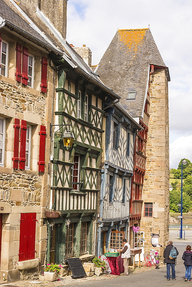 Half timbered houses, old town, Treguier, Cotes d'Armor, Brittany, France, Europe - 665-5495
