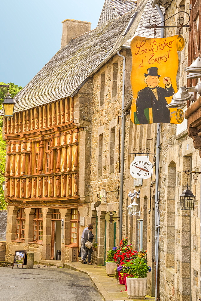 Half timbered houses, old town, Treguier, Cotes d'Armor, Brittany, France, Europe - 665-5496