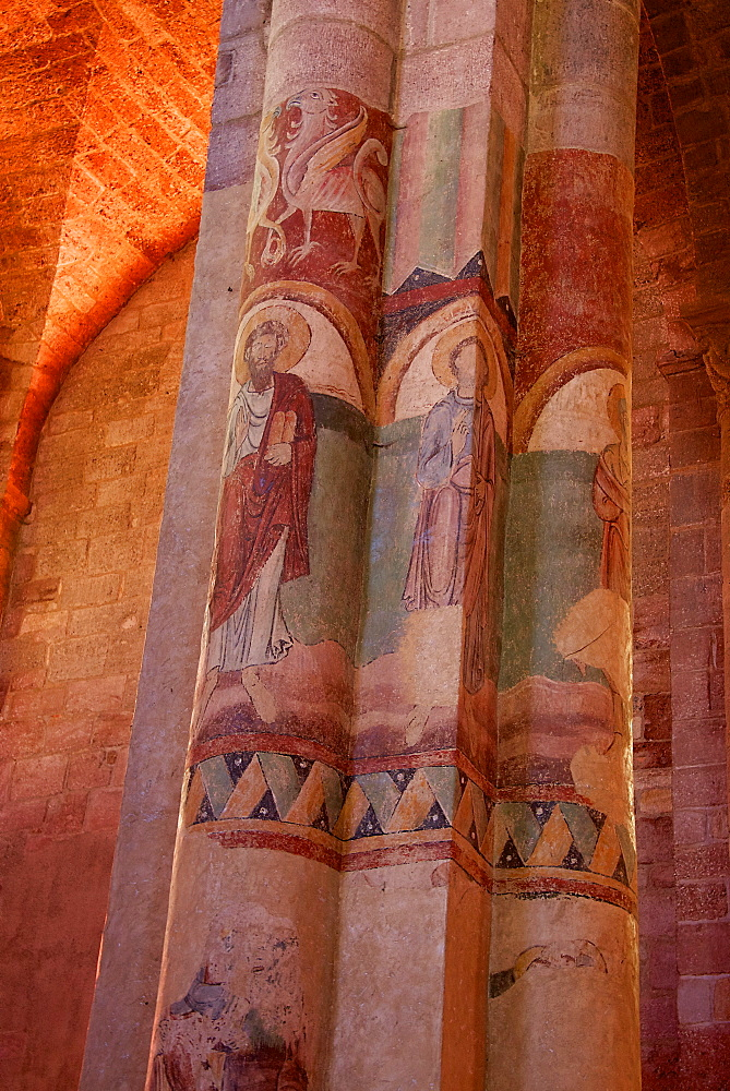 Paintings on nave and columns, St. Julian Basilica (St. Julien Basilica) dating from the 9th century, Romanesque architecture, Brioude, Haute Loire, France, Europe - 665-5502