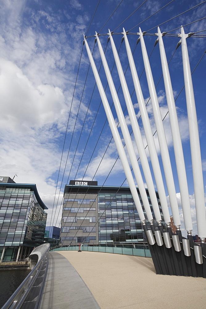 Media City Swing Bridge, Salford Quays, Salford, Greater Manchester, England, United Kingdom, Europe