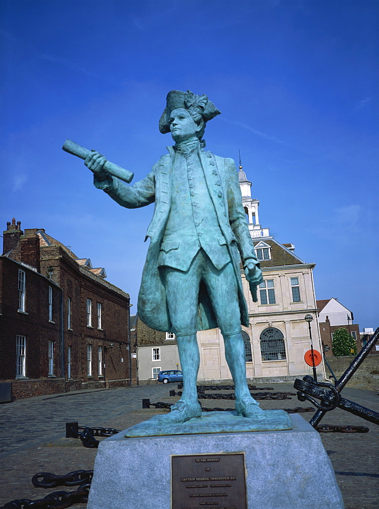 Statue of George Vancouver, Purfleet Quay, Kings Lynn, Norfolk, England, United Kingdom, Europe