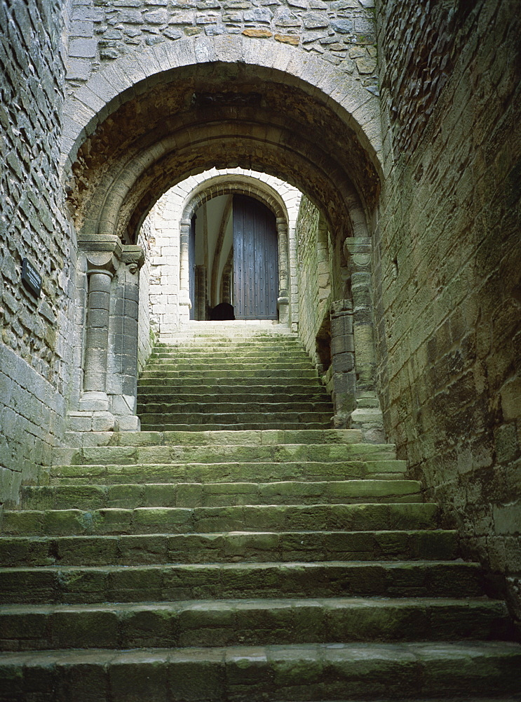Stairs to keep of castle, Castle Rising, Norfolk, England, United Kingdom, Europe