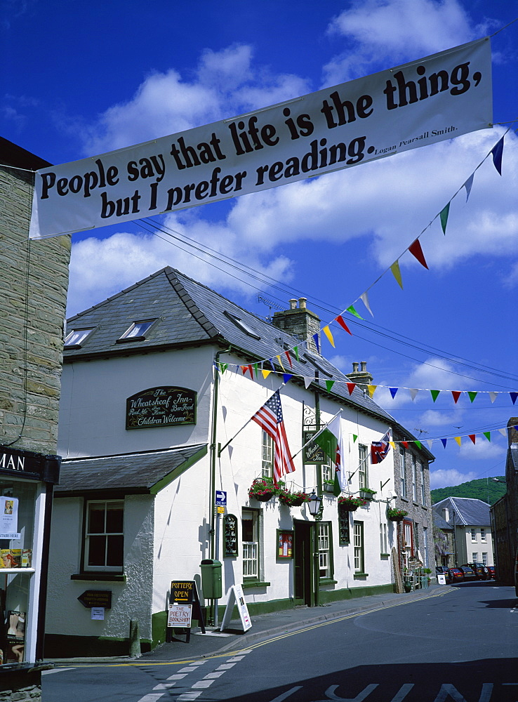 Town decorated for Literary Festival, Hay-on-Wye, Powys, Wales, United Kingdom, Europe
