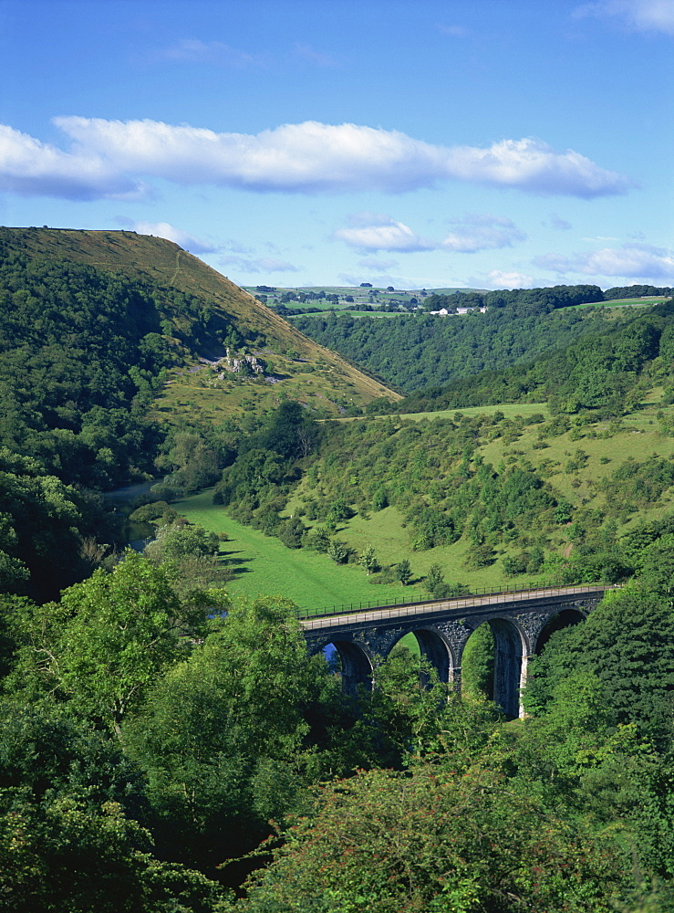Dale and viaduct from Monsal Head, Monsal Dale, Derbyshire, England, United Kingdom, Europe