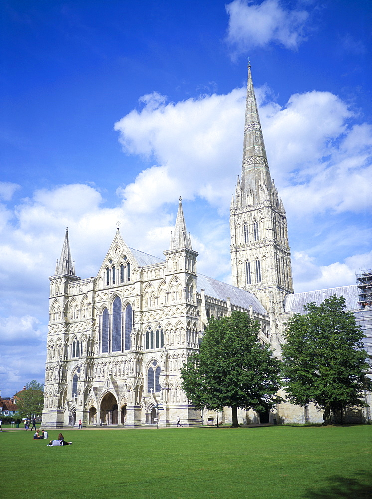 Salisbury cathedral from the southwest, Salisbury, Wiltshire, England, United Kingdom, Europe