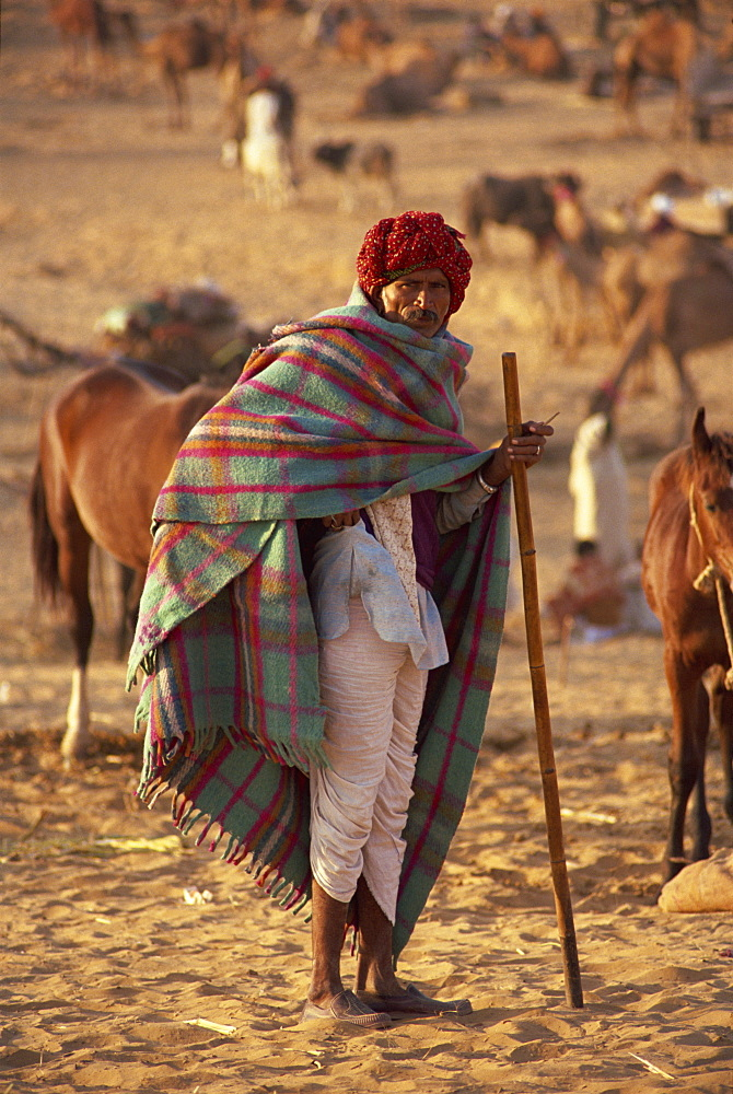 Portrait of an Indian farmer in traditional clothing, wearing turban and shawl, standing and looking at the camera, at Pushkar Camel Fair, Pushkar, Rajasthan, India, Asia - 681-2399
