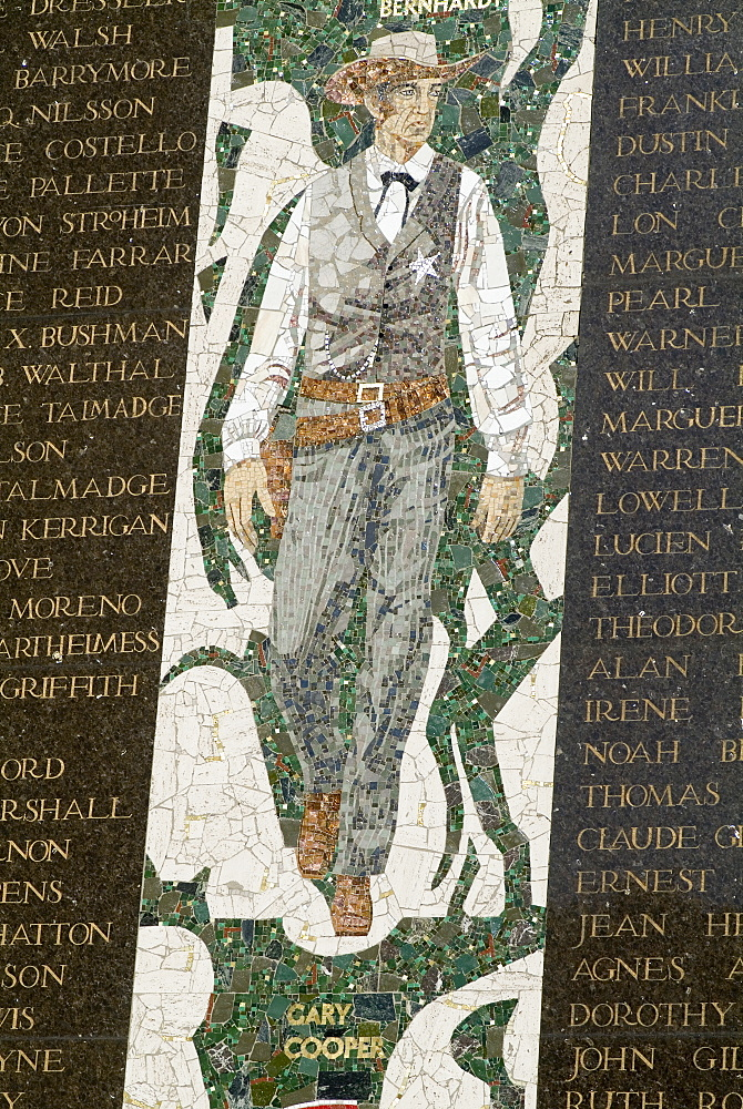 Gary Cooper, mosaic, Hollywood, Los Angeles, California, United States of America, North America