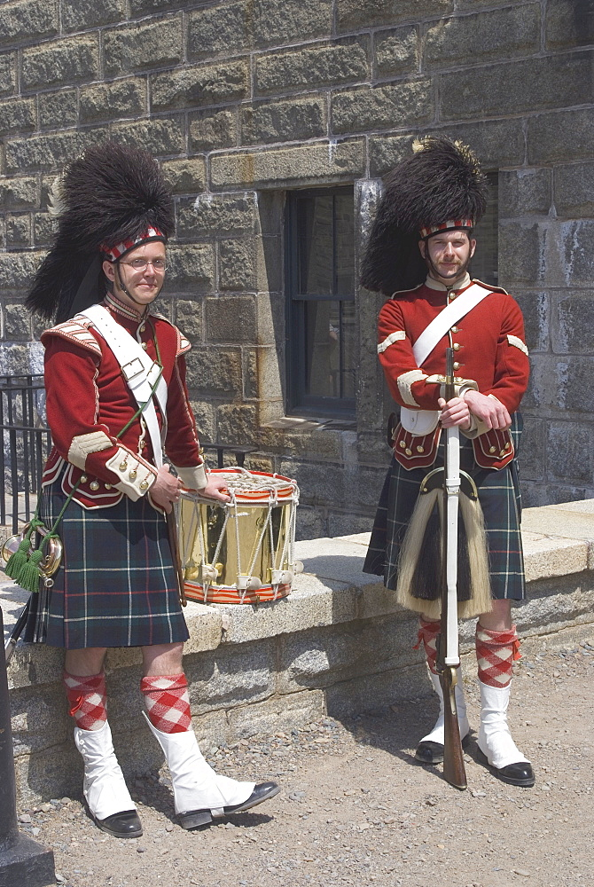 Traditionally dressed guardsmen, The Citadel, a Canadian National Historic Site, Halifax, Nova Scotia, Canada, North America