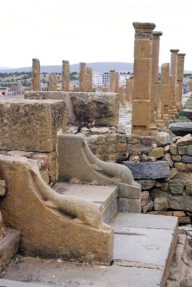 Latrine, Roman site of Timgad, UNESCO World Heritage Site, Algeria, North Africa, Africa