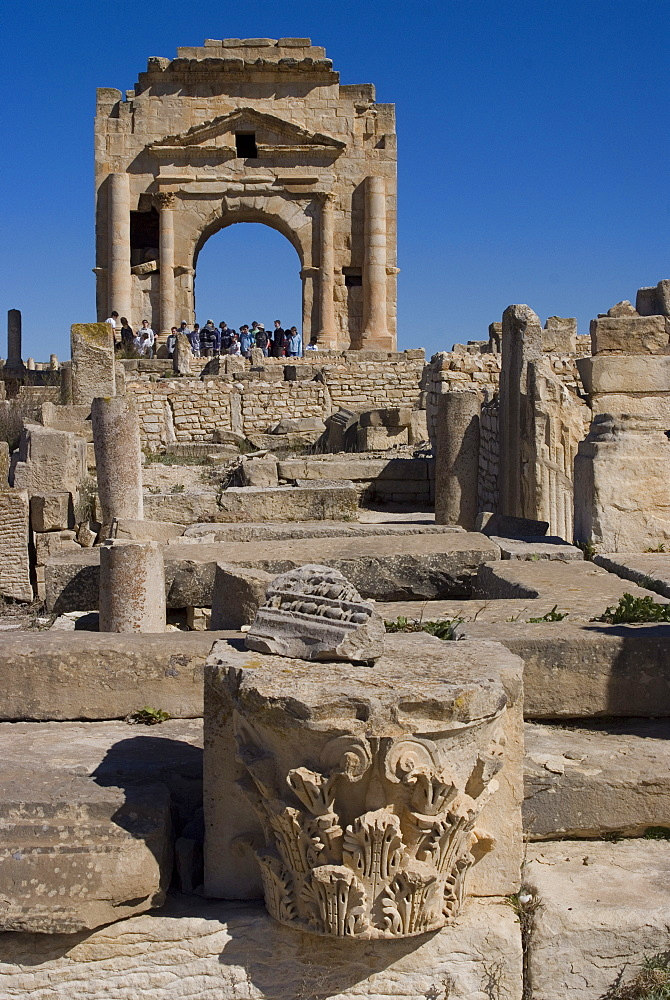 Arch of Trajan, Roman site of Makhtar, Tunisia, North Africa, Africa