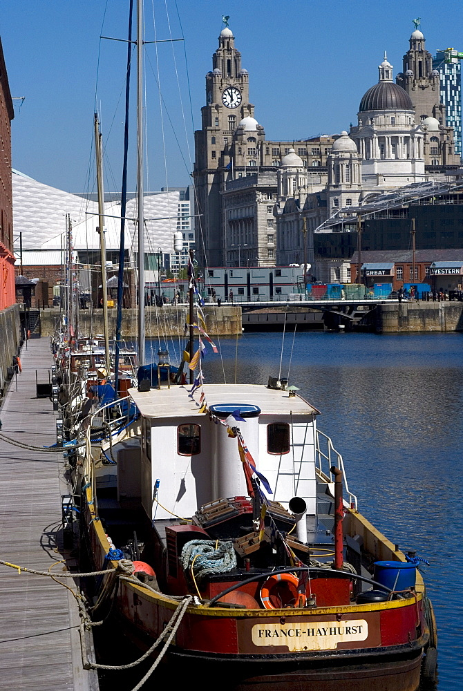 Albert Dock, with view of the Three Graces (riverfront buildings) behind, Liverpool, UNESCO World Heritage Site, Merseyside, England, United Kingdom, Europe