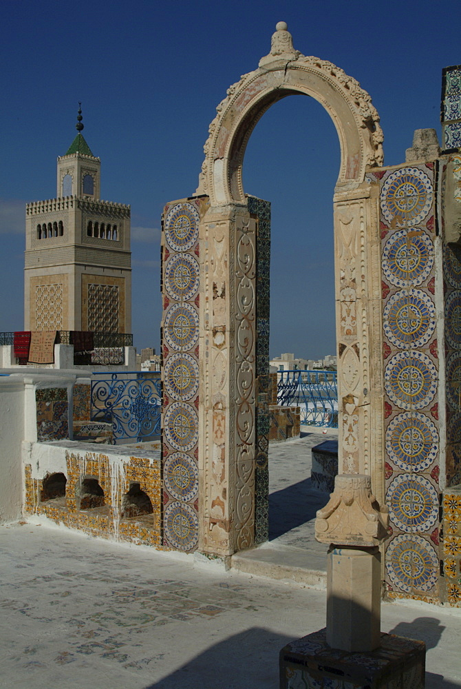 Rooftop view over mosque, Tunis, Tunisia, North Africa, Africa