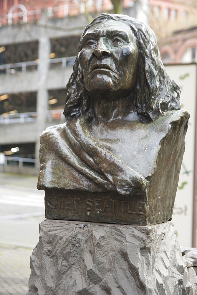 Bust of Chief Seattle, Pioneer Square, Seattle, Washington, United States of America