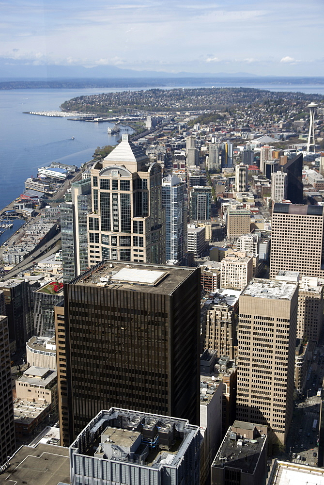Aerial view of Seattle with the Space Needle from the Skyview Observatory, Washington, United States of America - 685-2593