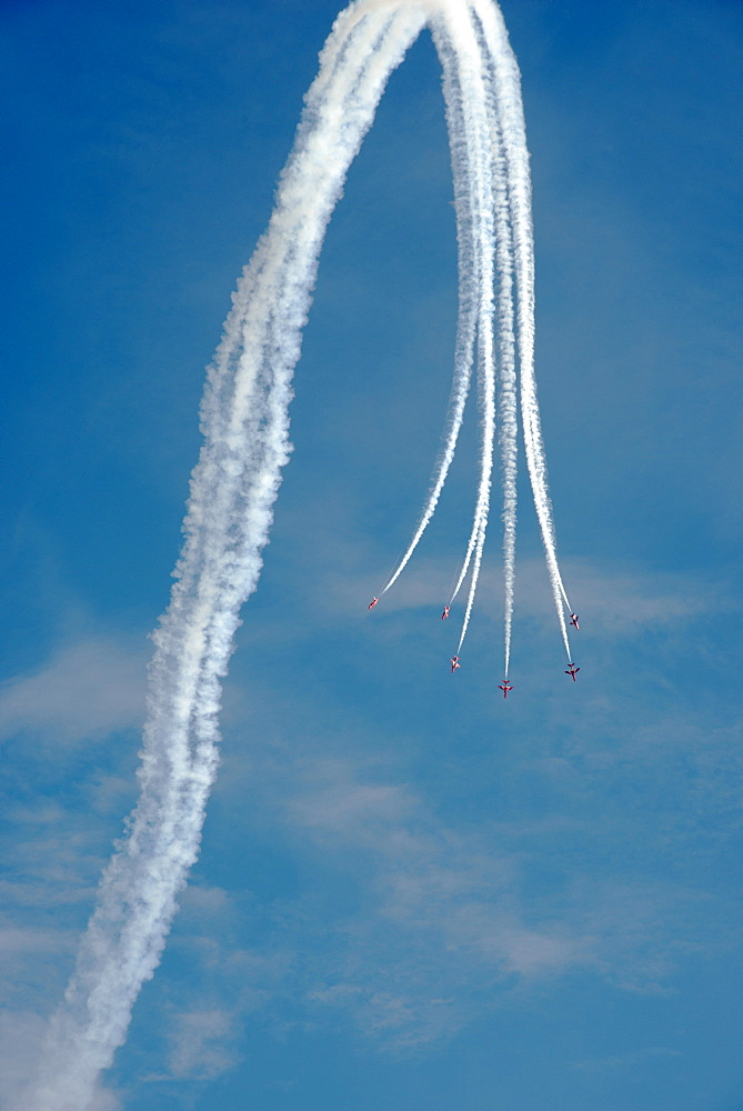 The Red Arrows at the VE Day Anniversary Air Show at Duxford, Cambridgeshire, England, United Kingdom, Europe - 685-2613